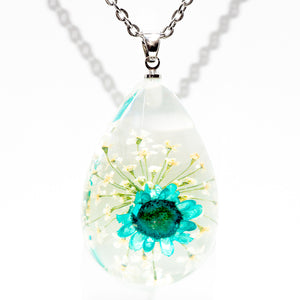 Flower Necklace Orb Bea Blue-Clear