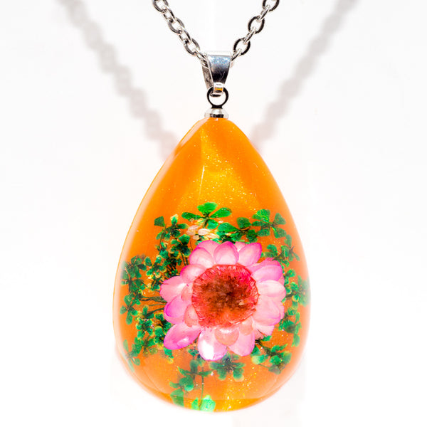Orb Bea Necklace Pink-Orange