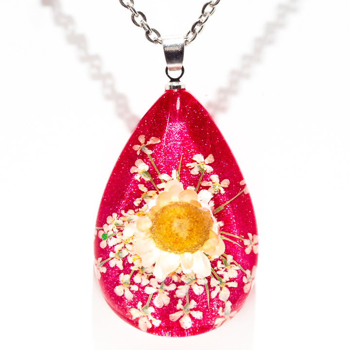 Flower Necklace Orb Bea White-Pink