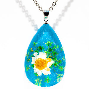 Flower Necklace Orb Bea White-Blue
