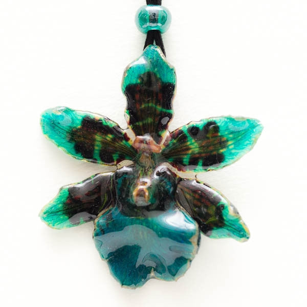 Flower Necklace  Blue Tiger Orchid