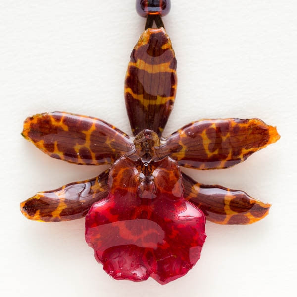 Orange Red Tiger Orchid Necklace