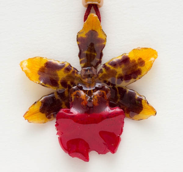Yellow Red Tiger Orchid Necklace