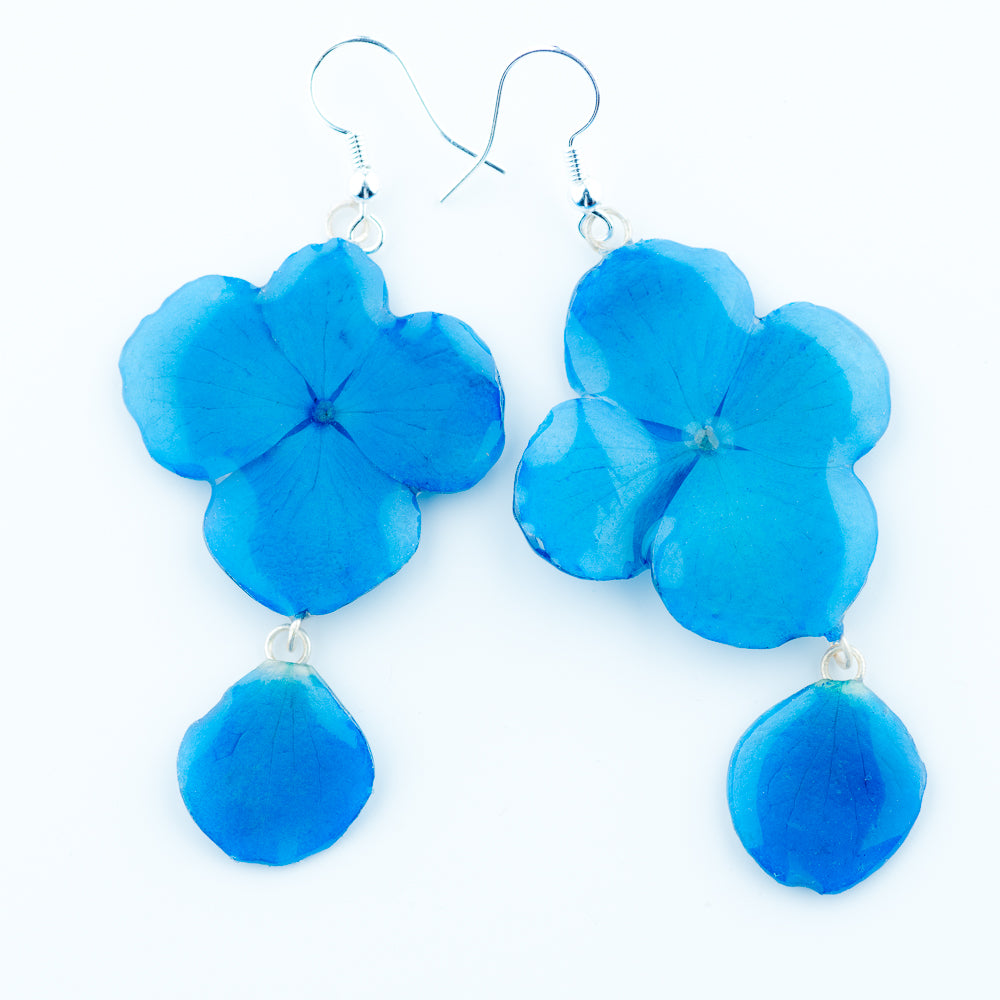 Flower Earrings blue hydrangea orchid earrings