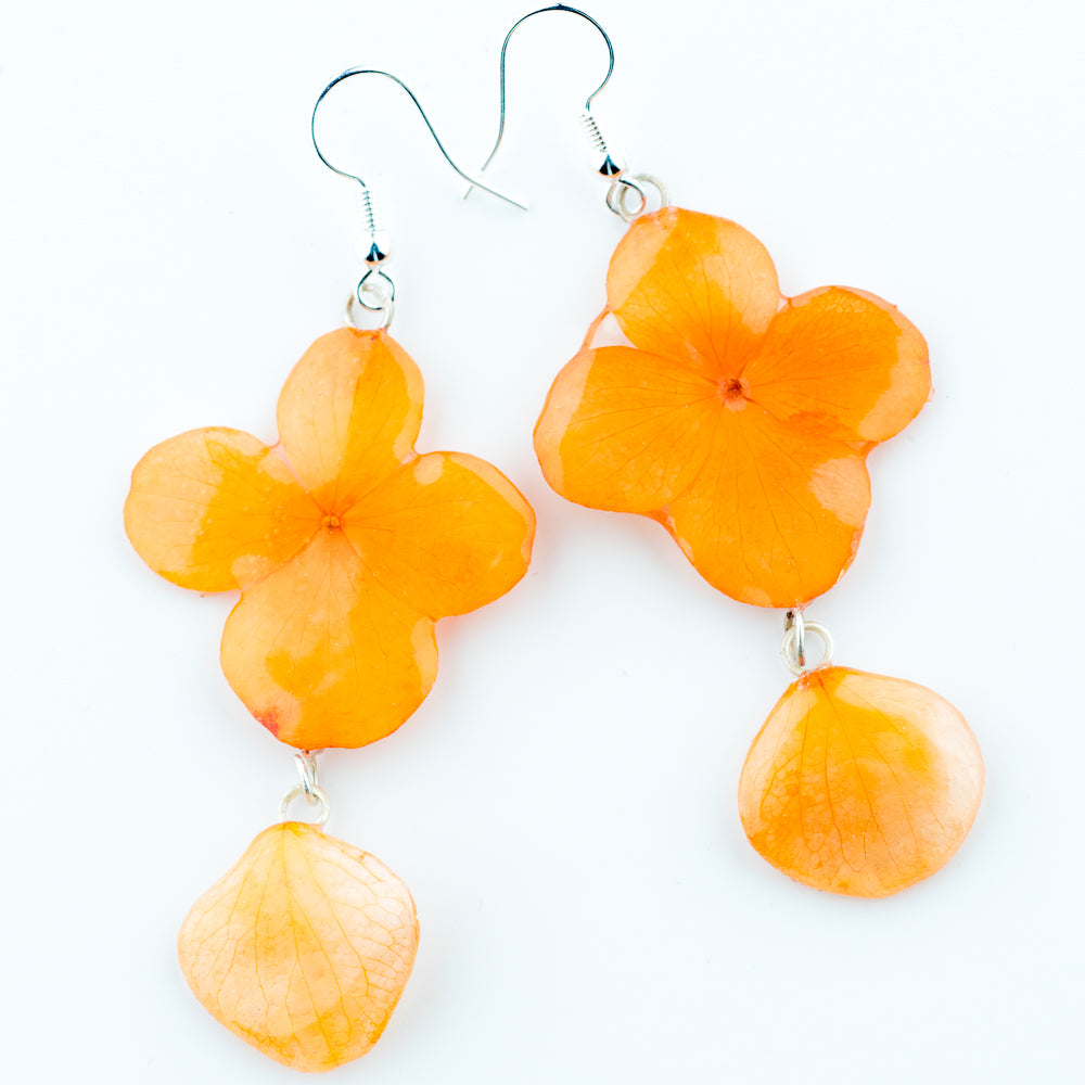 Flower Earrings Orange Hydrangea Real Flower Earrings Preserved in Resin