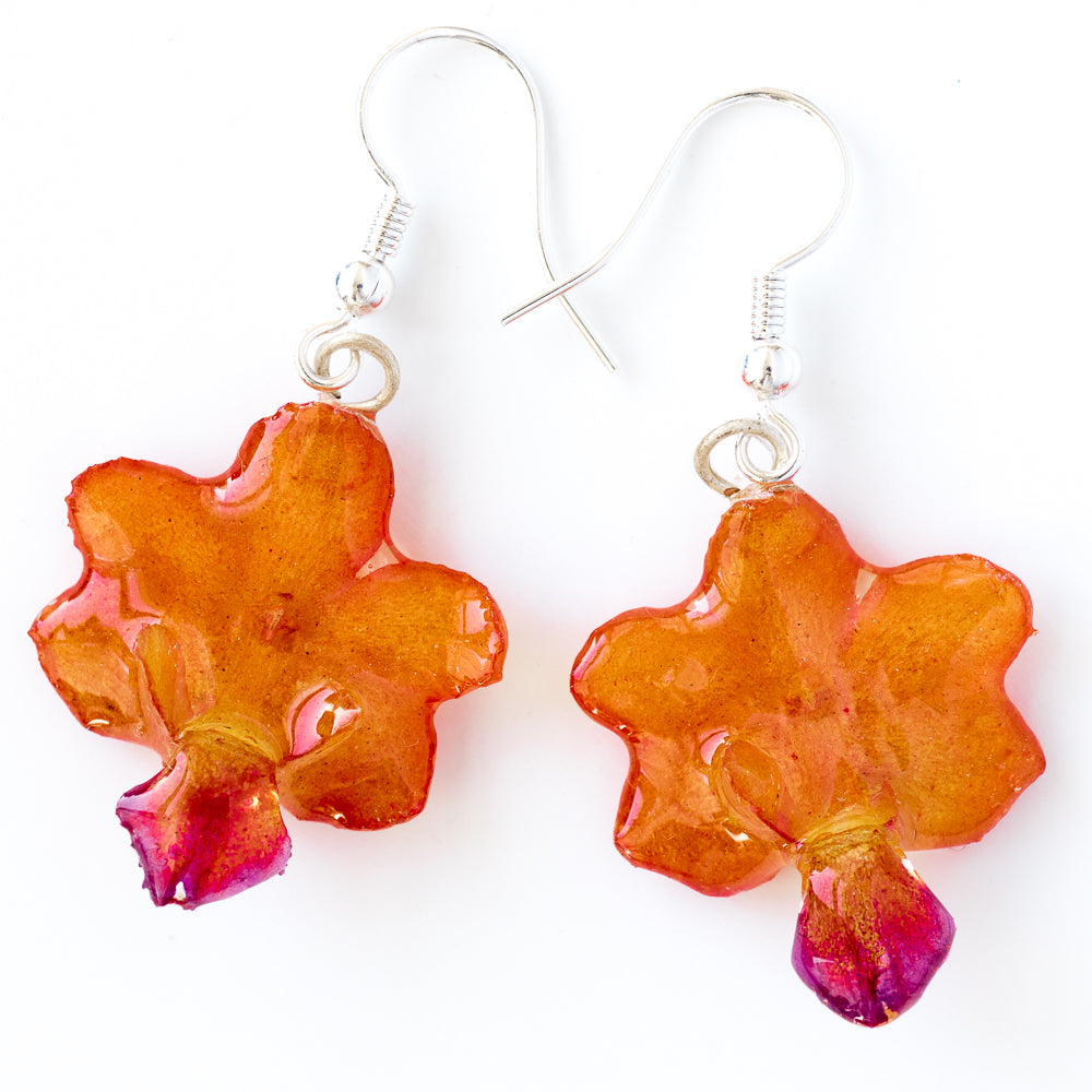 Flower Earrings Orange-Purple Rhynchocentrum Orchid Earrings