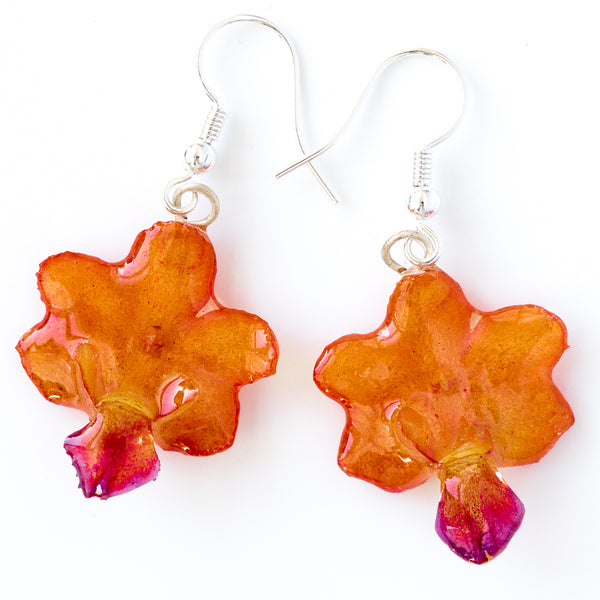 Orange-Purple Rhynchocentrum Orchid Earrings