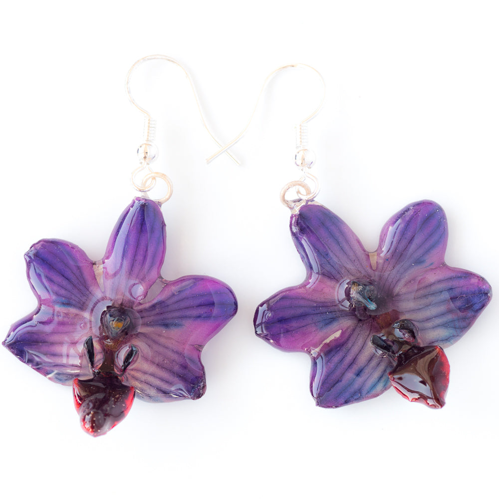 Flower Earrings Purple Doritis Orchid Earrings
