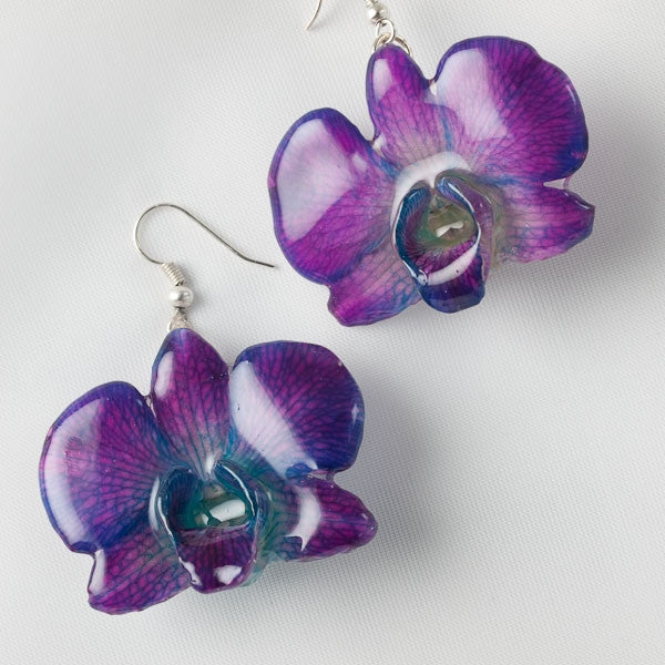 Purple Blue Small Dendrobium Caren Orchid Earrings