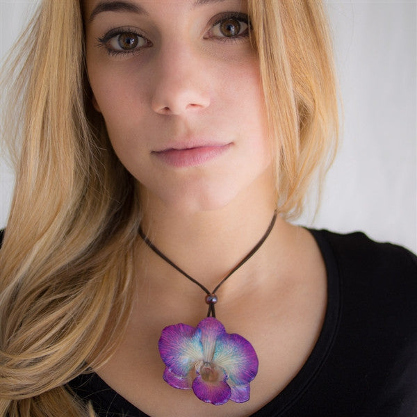 Purple Blue Dendrobium Orchid Necklace