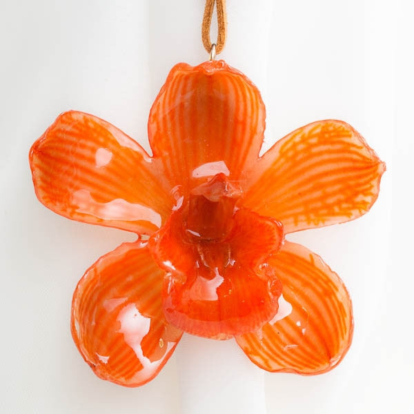 Orange Cymbidium Orchid necklace