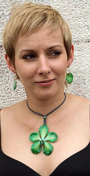 Green Mokara Orchid Necklace