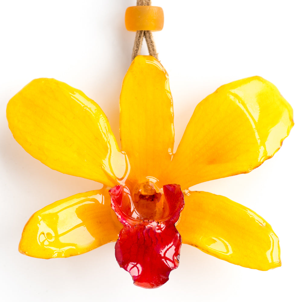 yellow dendrobium kasem orchid necklace