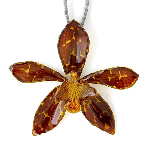 Tiger Cat Yellow Brown Orchid necklace