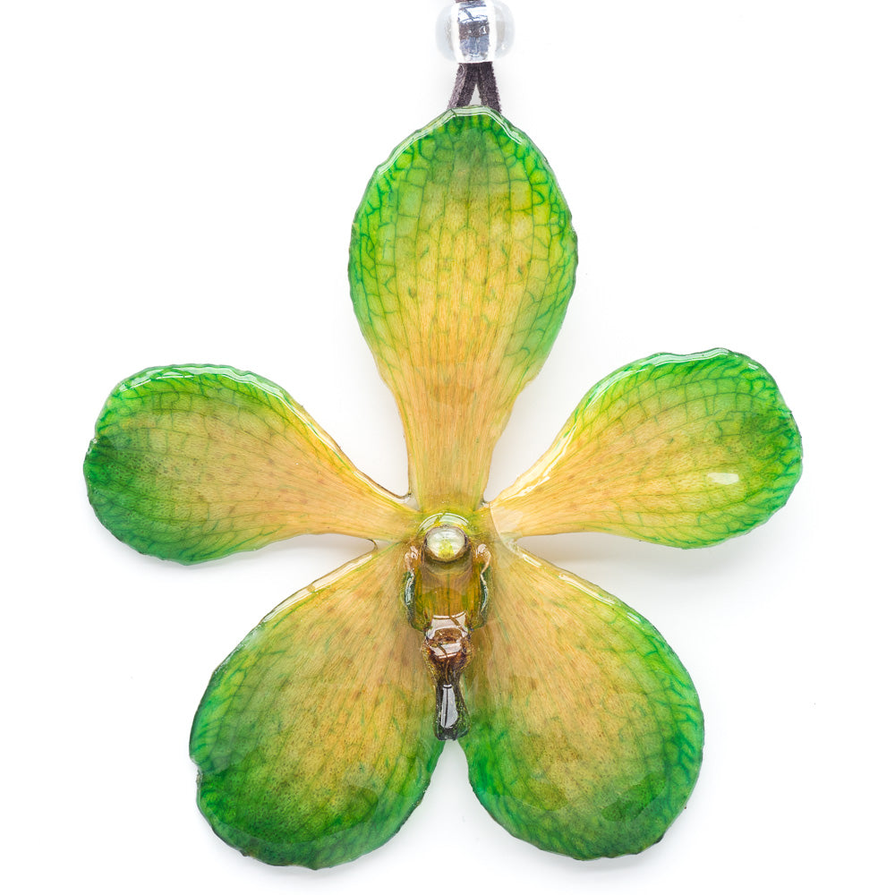 Flower Necklace Green Mokara Orchid