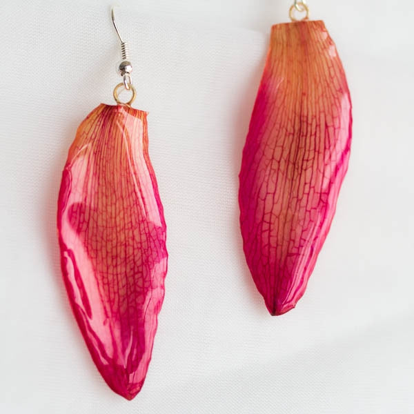 Pink Cattleya Orchid Petal Earrings