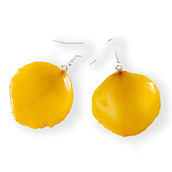 yellow real rose flower petal earrings