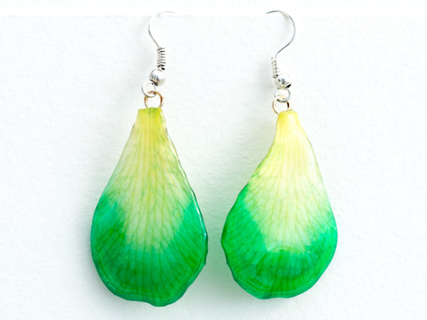 green white orchid petal earrings