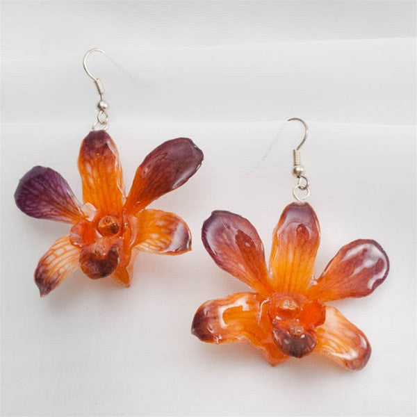 Purple Orange Small Dendrobium Orchid Earrings