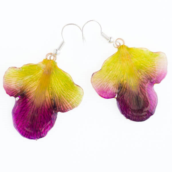 purple green dendrobium orchid flower petal earrings