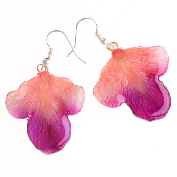 Purple Pink Orchid Petal Earrings