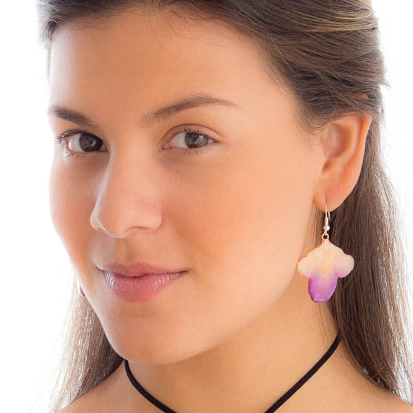 purple-white dendrobium orchid flower petal earrings