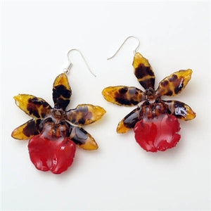 Yellow-Red Tiger Orchid Earrings