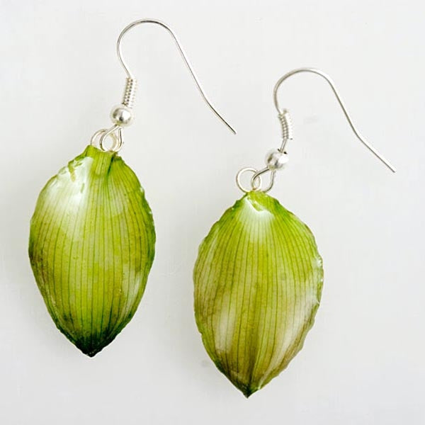 Flower Earrings Green Lotus of Paradise Petal Earrings