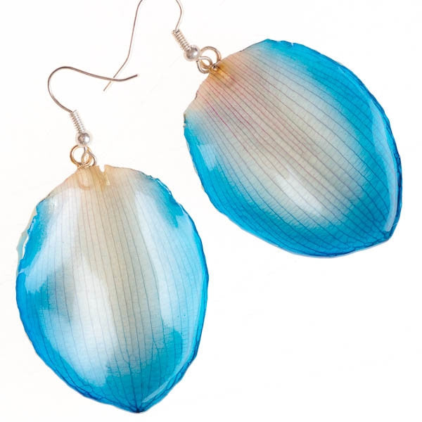 Blue White Lotus of Paradise Petal Earrings