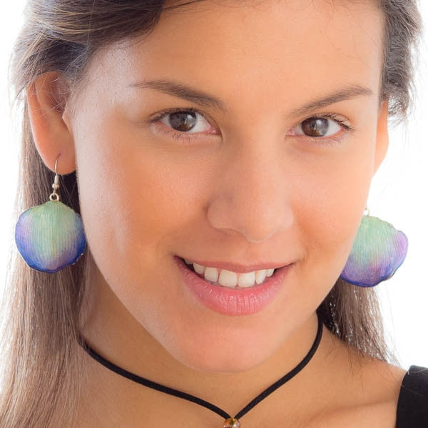 Purple-Blue Lotus of Paradise Petal Earrings