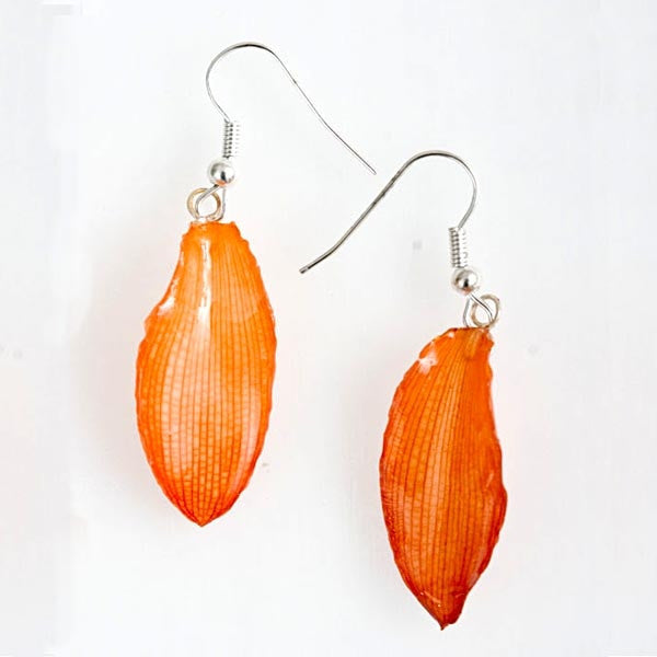Orange Lotus of Paradise Petal Earrings