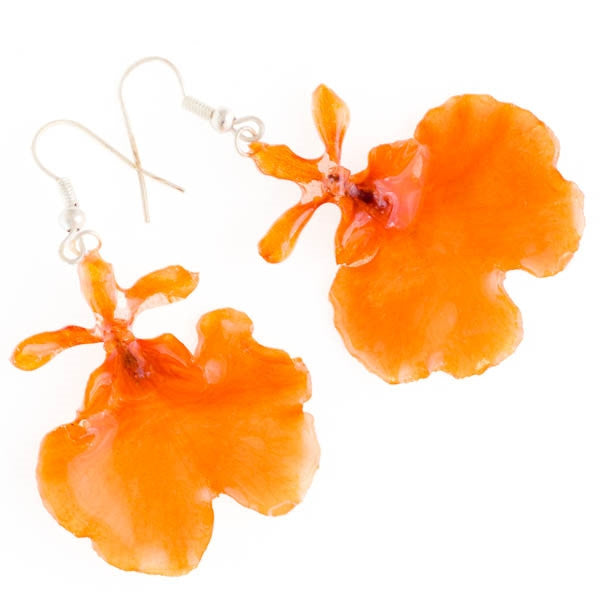 Orange Oncidium Orchid Earrings
