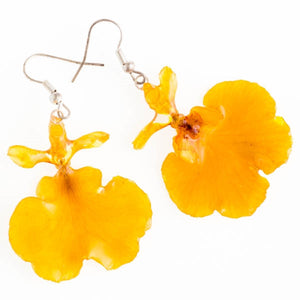 Yellow Oncidium Orchid Earrings