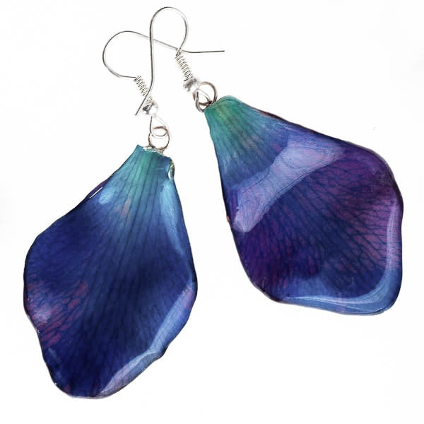 Purple-Blue Dendrobium Petal Earrings