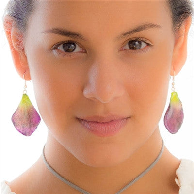 Purple-Green Dendrobium Petal Earrings