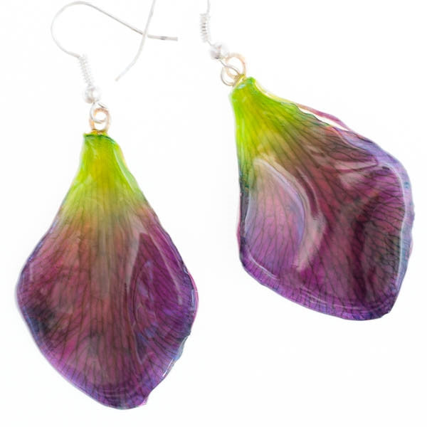 Purple Green Dendrobium Petal Earrings
