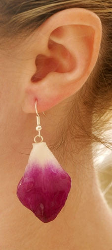 Purple-White Dendrobium Petal Earrings