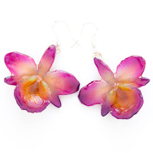 Flower Earrings Purple Chrysotoxum Orchid Earrings
