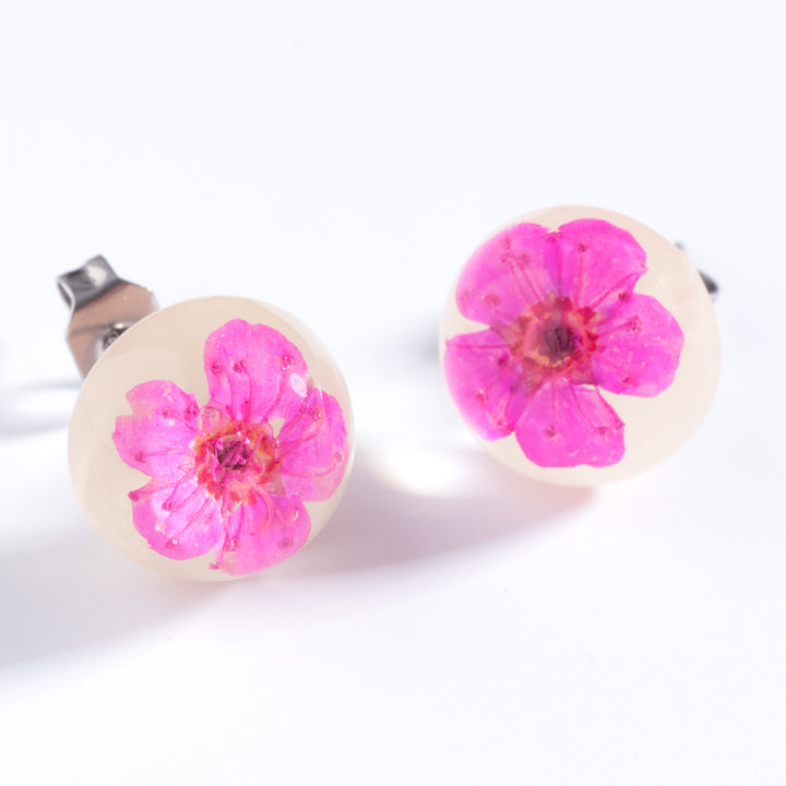 Flower Earrings Fuchsia-White Orb Stud Earrings