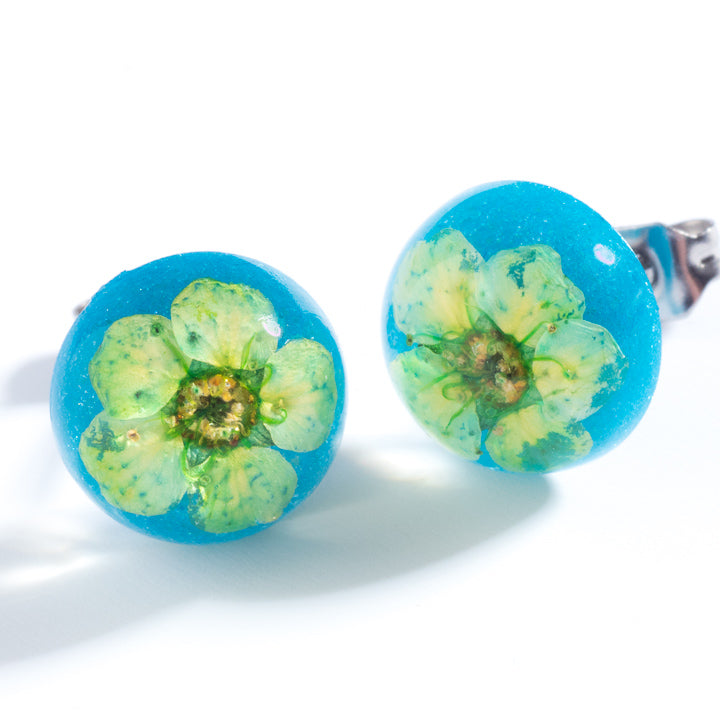 Flower Earrings Orb Studs Green-Blue