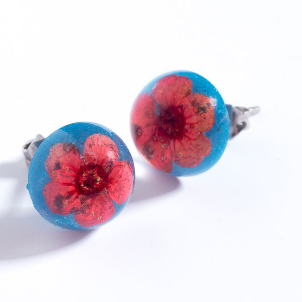 Red-Blue Orb Stud Earrings