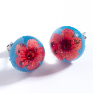 Flower Earrings Red-Blue Orb Stud Earrings