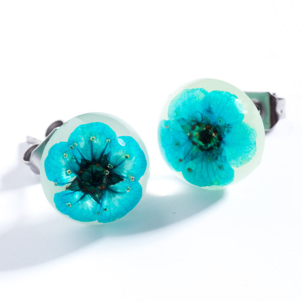 Blue-White Orb Stud Earrings