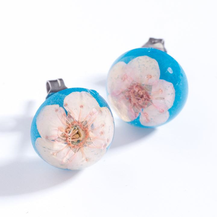 Flower Earrings Pink-Blue Orb Stud Earrings