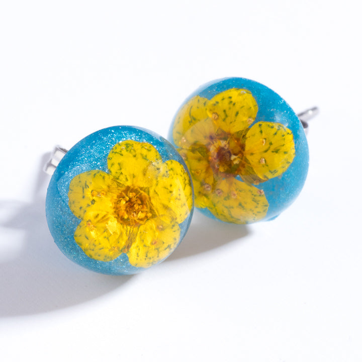Flower Earrings Yellow-Blue Orb Stud Earrings
