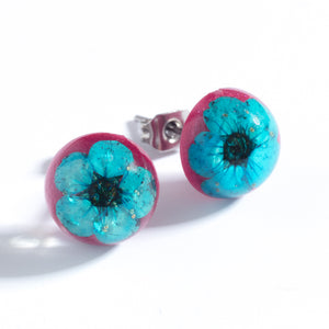 Flower Earrings Blue-Pink Orb Stud Earrings