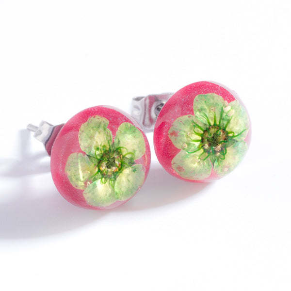 Green-Pink Orb Stud Earrings