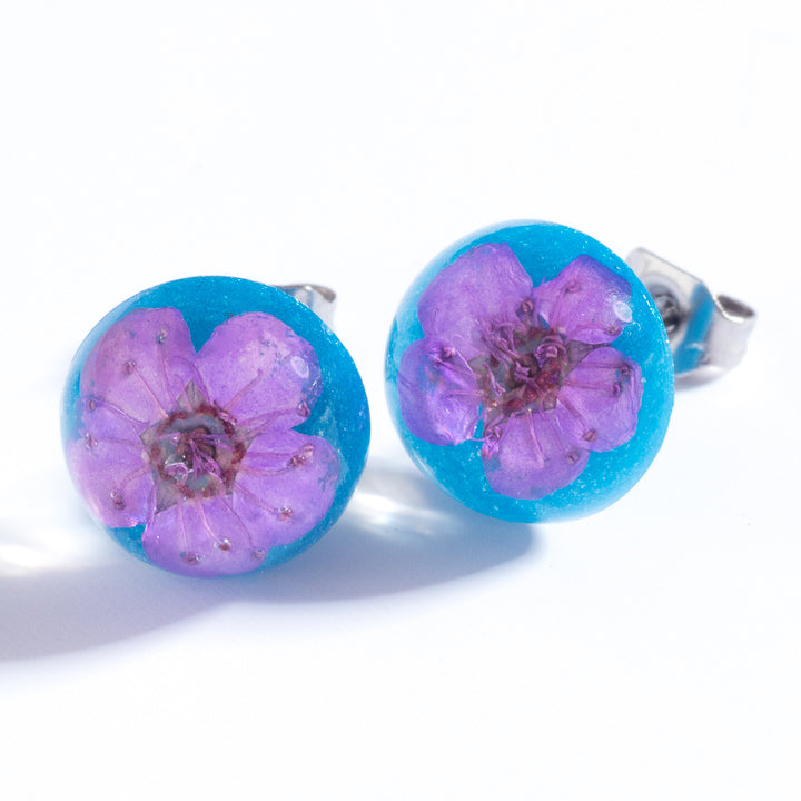 Flower Earrings Orb Studs Purple-Blue