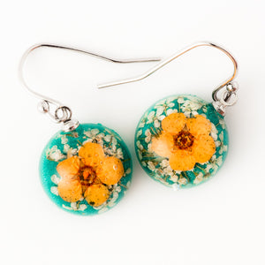 Flower Earrings Mini Orb Earrings Orange-Green