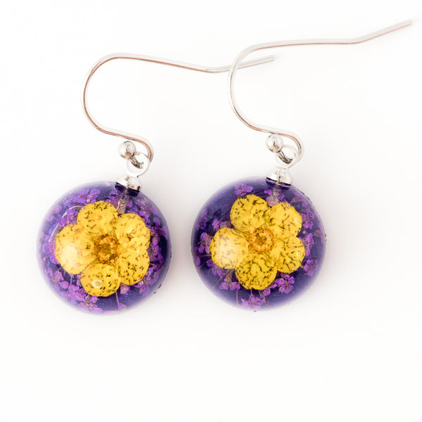 Mini Orb Earrings Yellow-Purple